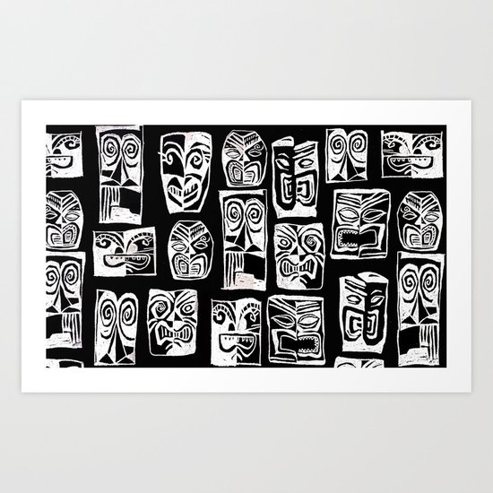 tribal in black and white Art Print
