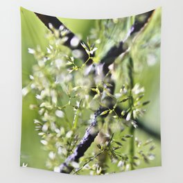 Blades Of Grass On Wire Fence Wall Tapestry