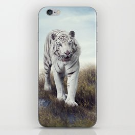 White Tiger Walking in the Grassland iPhone Skin