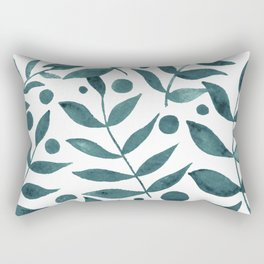 Watercolor berries and branches - teal grey Rectangular Pillow