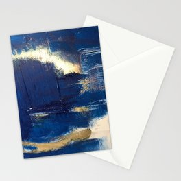 Halo [2]: a minimal, abstract mixed-media piece in blue and gold by Alyssa Hamilton Art Stationery Cards