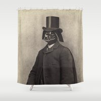 star lord Shower Curtains featuring Lord Vadersworth by Terry Fan