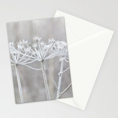 cow parsley plant  with hoarfrost in winter Stationery Cards