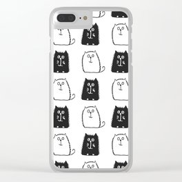 BLACK & WHITE CATS Clear iPhone Case