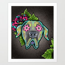 Great Dane with Floppy Ears - Day of the Dead Sugar Skull Dog Art Print