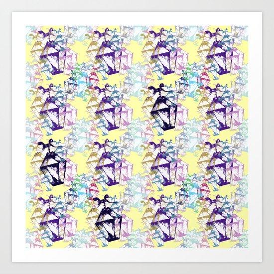 Lamp repeat yellow Art Print