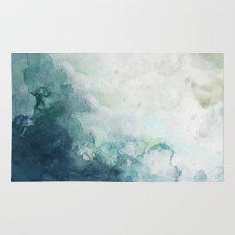 Coastal Beach Art Watercolor Indigo Blue and White Rug