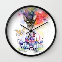 simba Wall Clocks featuring Simba the princess sphynx by Psyca
