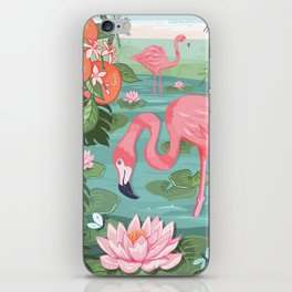Flamingo and Waterlily iPhone Skin