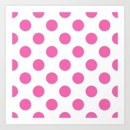 Geometric Candy Dot Circles - Strawberry Pink on White Art Print