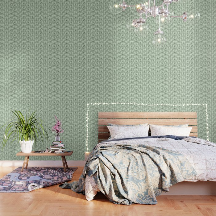Green Nature Olive Leaf Berry Birds Branch Wallpaper