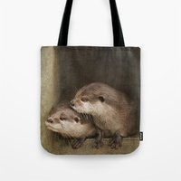 otters Tote Bags featuring The curious otters by Pauline Fowler ( Polly470 )
