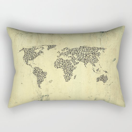 Black Star World Map Rectangular Pillow