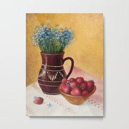 Brown jug and strawberry Metal Print
