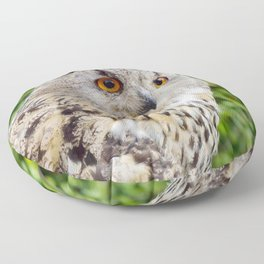 Eagle Owl with glowing eyes Floor Pillow