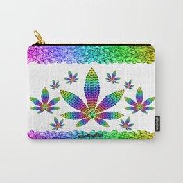 Rainbow Gems Cannabis Leaf (on White) Carry-All Pouch