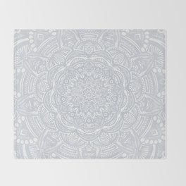 Light Gray Ethnic Eclectic Detailed Mandala Minimal Minimalistic Throw Blanket