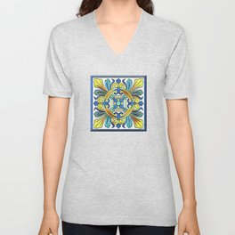 South Italian Vintage Majolica Tiles Unisex V-Neck