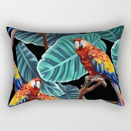 tropical leaves macaw pattern 2 Rectangular Pillow
