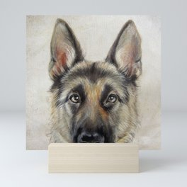 German Shepard Dog illustration original painting print Mini Art Print