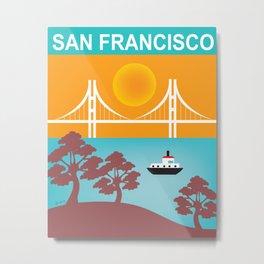 San Francisco, California - Skyline Illustration by Loose Petals Metal Print