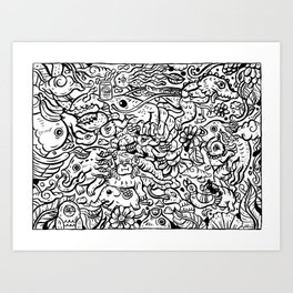 Somewhere Together black and white Art Print