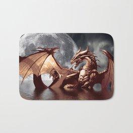 Mystical Dragon and Moon Fantasy Design Bath Mat