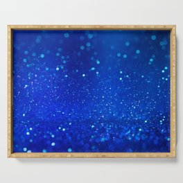 Abstract blue bokeh light background Serving Tray