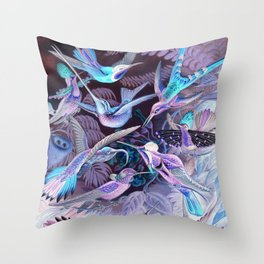Ode to Haeckel's Hummingbirds Throw Pillow