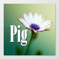 pig Canvas Prints featuring Pig by Wanker & Wanker