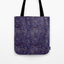 Gold Outlined Flowers Royal Navy Blue Oh Deer Tote Bag