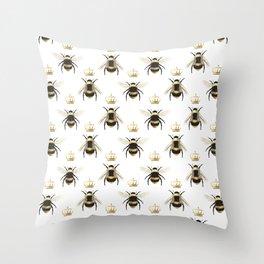 Gold Queen bee / girl power bumble bee pattern Throw Pillow