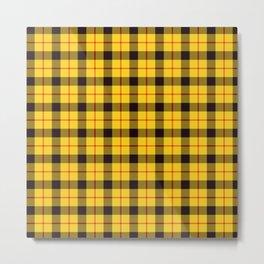 Yellow Plaid Tartan Metal Print