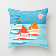 Popin - memphis sports retro throwback neon sailing sailboat cool rad gnarly trendy watersports Throw Pillow