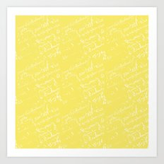 French Script on Yellow Art Print