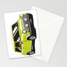 Mini Cooper Car - Chartreuse Stationery Cards
