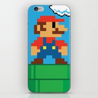 mario bros iPhone & iPod Skins featuring Mario Bros by WaXaVeJu