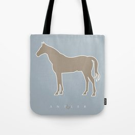 Cut Out Horse - Taupe on Blue Tote Bag