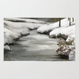 Snow in forest Rug