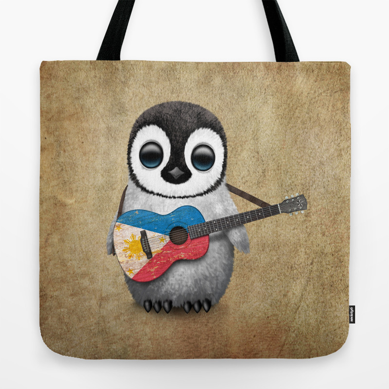 Baby Penguin Playing Filipino Flag Acoustic Guitar Tote Bag