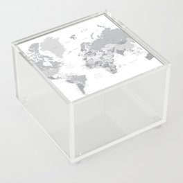 """Gray world map with cities, states and capitals, """"in the city"""" Acrylic Box"""