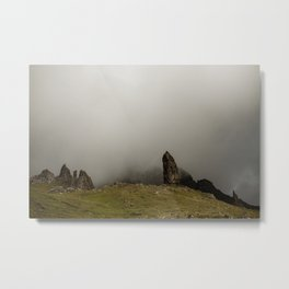 Old Man of Storr on the Isle of Skye in Scotland  Cloudy day  Wanderlust wall art Metal Print