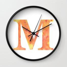 Letter M Art/ Initial M/ Monogram Wall Clock