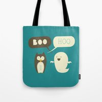 dead Tote Bags featuring Boo Hoo by AGRIMONY // Aaron Thong