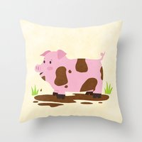 pig Throw Pillows featuring Pig by Claire Lordon