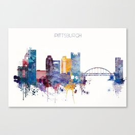 Watercolor cityscape of Pittsburgh Canvas Print