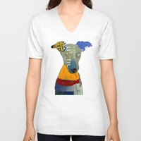 greyhound V-neck T-shirts featuring kacy (greyhound  by bri.buckley