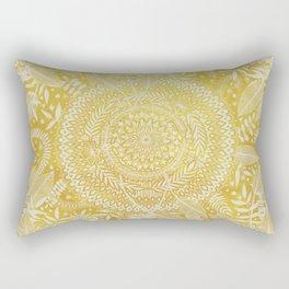 Medallion Pattern in Mustard and Cream Rectangular Pillow