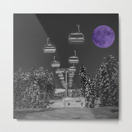 Chair Lift to the Purple Moon Metal Print