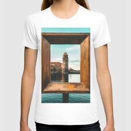 Picture Perfect | Teal and Orange Collioure France Medieval Church Tower Scenic View Marina T-shirt